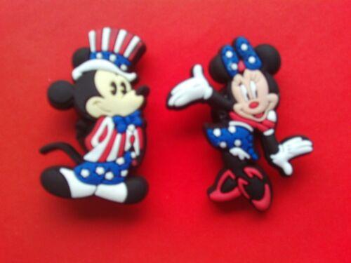 Mickey /& MInnie Mouse jibbitz crocs shoe charms loom bands cake toppers 2 U.S.A