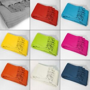 Lana-Tessuti-100-COTONE-tiro-coperta-con-frange-colori-assortiti