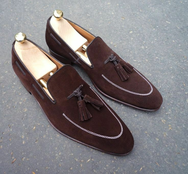 Hand Stitched Mens Latest Contrast Stitching Thread with Tassels Suede Shoes