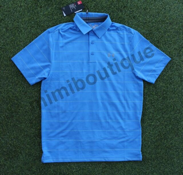 Under Armour Men's Performance Golf Polo Shirt Blue Stripe Loose Fit Top $64.99