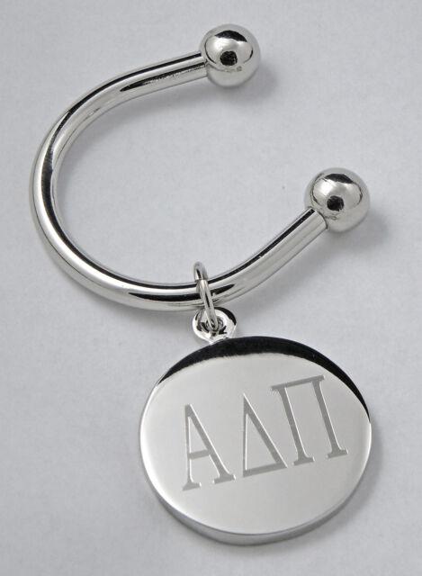 Alpha Delta Pi, ΑΔΠ, Greek Letter Disk Key RingSilver Plate Disk Non Tarnish