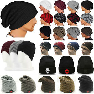 Slouch-Beanie-Hat-Mens-Ladies-Knitted-Crochet-Woolly-Winter-Stretchy-Ski-Caps