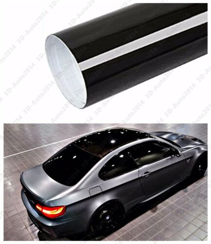 """48/"""" X 53/"""" GLOSS BLACK Vinyl Film Wrap Sheet With Air Release Pockets Bubble Free"""