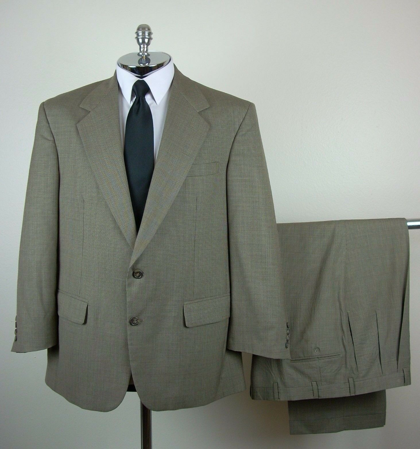 BILL BLASS  Herren Tan PURE WOOL 2 Button Houndstooth Suit Größe 40 R