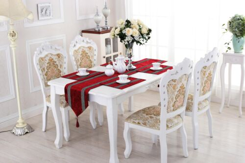 Table Rouge Runner Napperon Set Damask Chenille Strass pour Home Party Decor