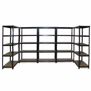 5x-1-2M-Black-Steel-Warehouse-Racking-Storage-Rack-Shelf-Garage-Shelving-Shelves