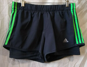 Adidas-ClimaLite-Lined-Layered-Running-Track-Athletic-Shorts-Gray-Green-Large