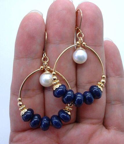 Lang Blau Lapislazuli mit Weiß Fwp Gold Creole Ohrring A0615