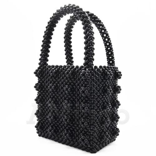 Luxury Pearl Bag Womens Flower Beaded Bag Vintage Box Handbag Crystal Clutch Bag