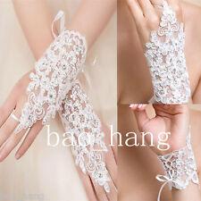 Lace White Bridal Gloves Short Appliques Wedding Glove Bridal Accessories
