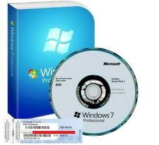 Windows 7 Pro Professional 64Bit SP1 - 1 COA License Key - Hologram DVD