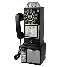 Retro Phone Old Antique Fashioned Vintage Push Button American Style Wall Black