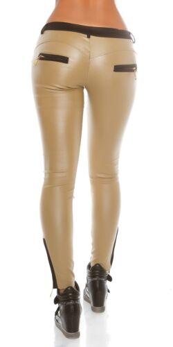 KOUCLA Pelle Look Pantaloni Donna Pantaloni con applicazione in tessuto