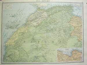 1920 gran mapa frica noroccidental Sahara Trpoli Marruecos