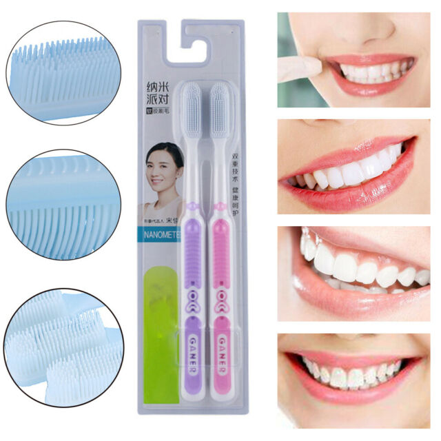 2pc Soft Silicone Toothbrush Adult Nano Oral Care Brush Good Nano-antibacterial