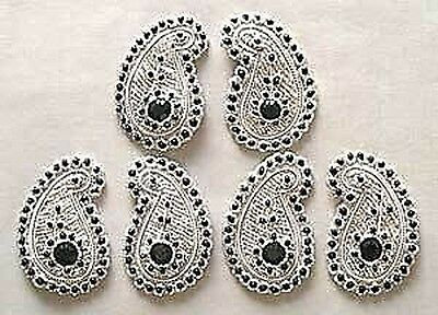 6 Hand-Beaded, Paisley Appliques. Black Gems & Silver Bullion Embroidery
