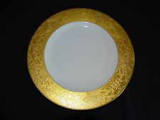 """Hutschenreuther Bavaria 10 7/8"""" Dinner Plate Heavy Gold Embossed w/2nd Gold Ring"""
