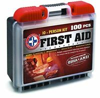 Be Smart Get Prepared 100 Piece First Aid Kit With Ansi Standards, 10 Person, 1. on sale