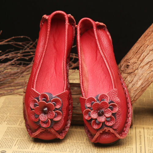 Womens Real Leather Ethnic Style Flower Round Toe Flat Heels Casual Shoes A587