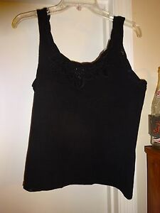 MOONLIGHT-BAY-MOON-LIGHT-Size-Large-Sleeveless-Tank-Top-Cami-Camisole-Black