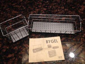 Details about 2 IKEA BYGEL Hanging Wire Basket Kitchen Bathroom Craft  Discontinued 13