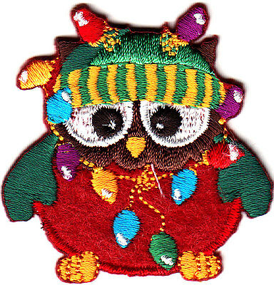 OWL w/CHRISTMAS LIGHTS & CAP Iron On Embroidered Patch Holidays