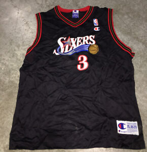 Details about Champion Brand NBA Philadelphia 76ers Allen Iverson Kids 18-20 Jersey Used