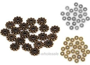 100PCS-Antique-Silver-Gold-Bronze-Daisy-Flower-Shaped-Spacer-Beads-8mm-8-5mm
