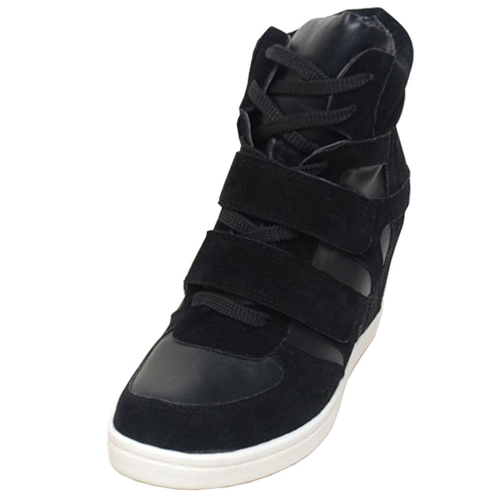 Epicsnob Damens Schuhes High Top Wedge Hidden Heel Suede Fashion Sneakers