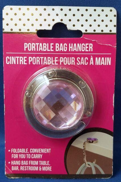 PINK JEWEL - Foldable Portable Purse Bag Hanger Holder Hook for Table