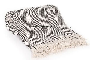 LUXURY-100-COTTON-WOVEN-HERRINGBONE-SOFA-CHAIR-BED-THROW-FRINGED-COVER-BLANKET
