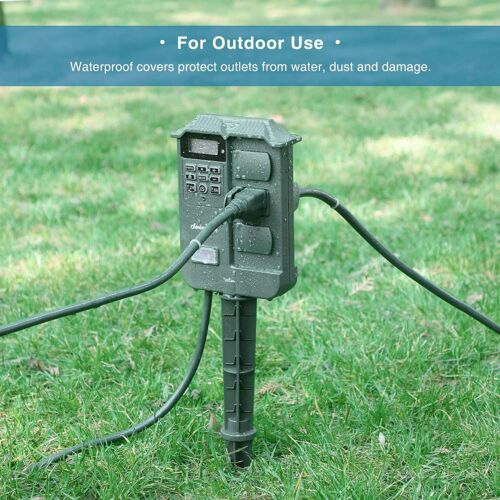 DEWENWILS Outdoor Digital Power Stake Timer Switch Outlet Power Strip HOYS16B