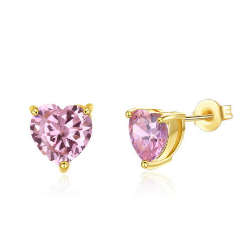 ITALY Pink Heart Push Back Stud Earrings in Pink Topaz in 18K Gold Plated