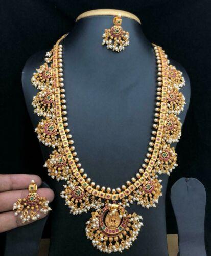 22K Gold Plated Handmade Indian Necklace fine jewelry wedding Jewellery Set 1920