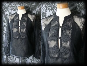 Gothic-Black-Sheer-Lace-ORIENTAL-High-Neck-Bib-Blouse-10-12-Victorian-Vintage