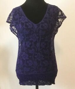 Ariat-Top-Size-Small-Women-s-Purple-Floral-Lace-Detail-Top