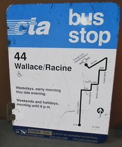 Vtg-2-Sided-CTA-Bus-Stop-44-Wallace-Racine-Chicago-Aluminum-Sign-24-x-18-S598