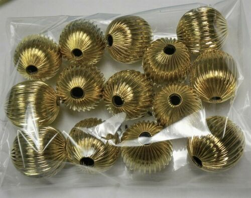 LARGE CORRUGATED ROUND BRASS BEADS 25MM 14MM 12MM-NEW-Gold or gunmetal plated