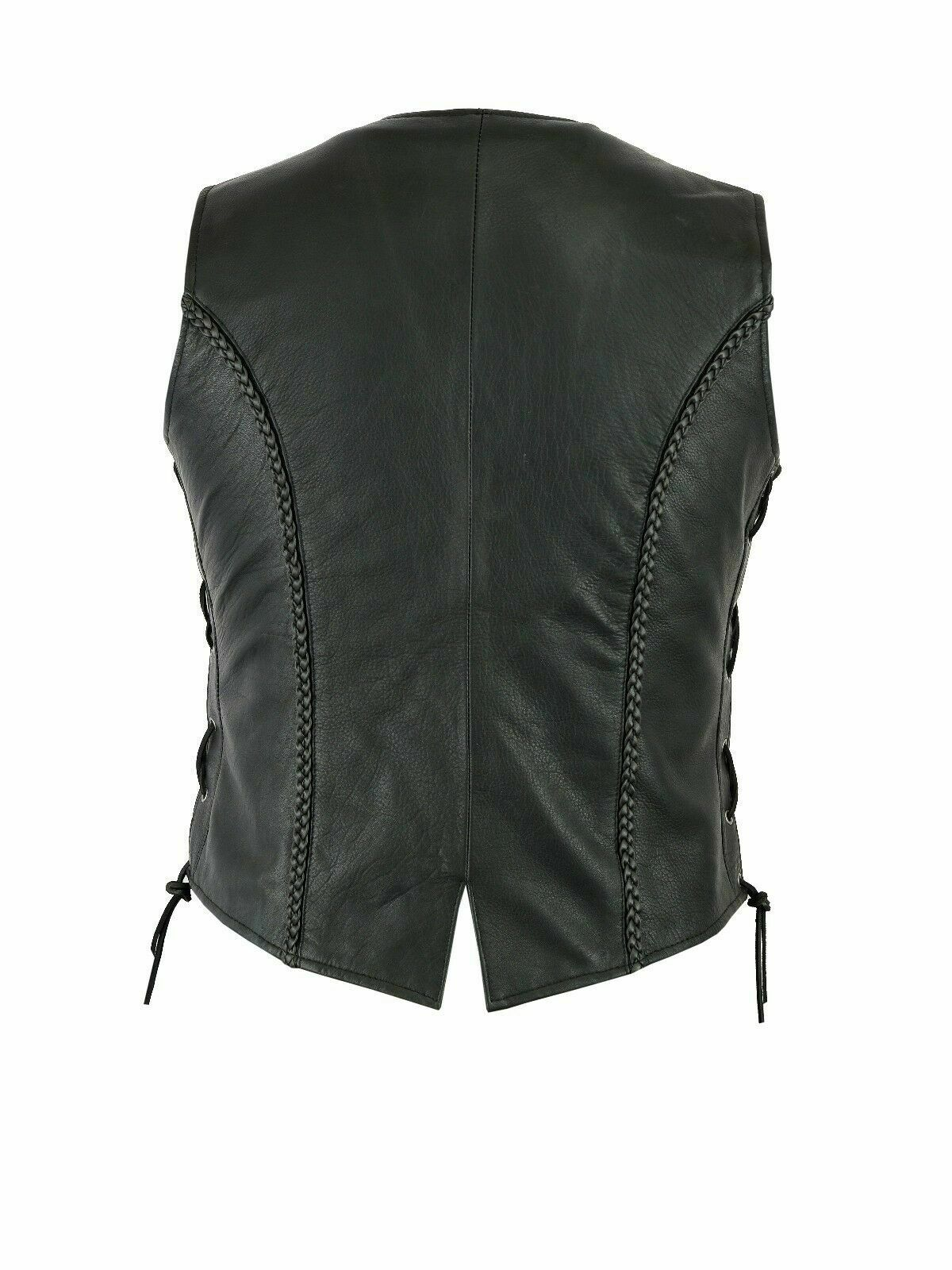 20 Ladies Real Leather Laced Up Motorcycle Biker Waistcoat Womens Gillette Vest