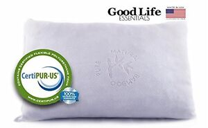 Good Life Essentials Shredded Memory Foam Pillow with Stay Cool Bamboo Cover, St