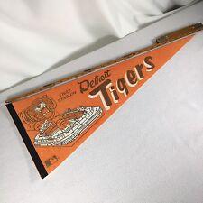 "Detroit Tigers Pennant Tiger Stadium Aproximately 30"" Along Top Vintage 1960s"