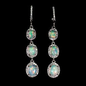 Unheated-Oval-Fire-Opal-Full-Flash-8x6mm-White-Cz-925-Sterling-Silver-Earrings