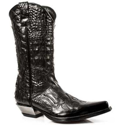 New Rock 7921-S1 para Hombre de Cuero Negro botas De Cowboy Unisex Cuero Clásico de llama