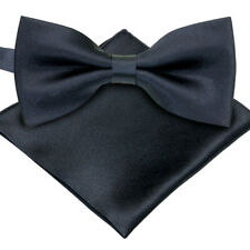 Various Colors ST34 Brand new Solid Pre tied Silk Feel Satin Tuxedo bow ties and Pocket Square SET For MENS
