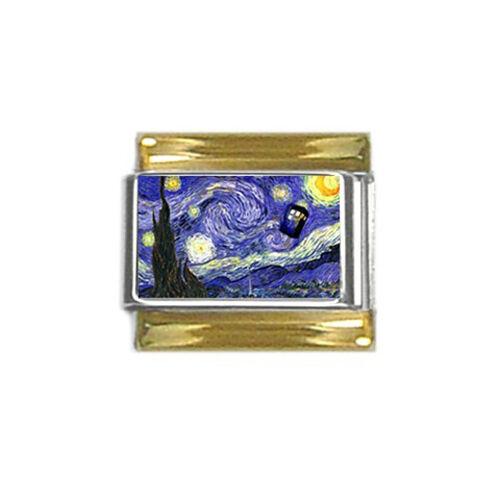 NEUF DR WHO TARDIS Call Box Van Gogh Nuit étoilée bordure dorée italien charme 9 mm