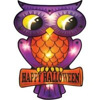 Bright Retro Look Halloween Owl Lighted 10 Lights Window Wall Door Fall Fun