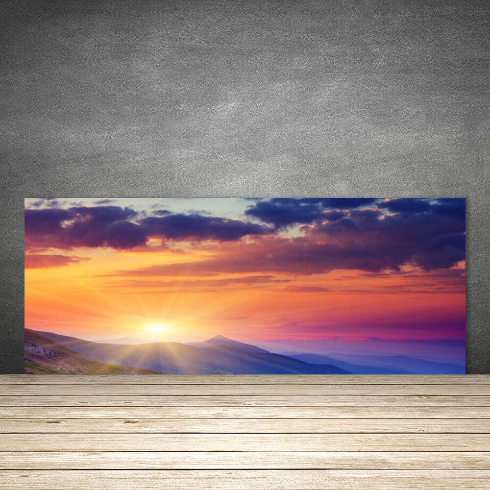 Crédence de cuisine en verre Panneau 125x50 Paysage Montagne Soleil