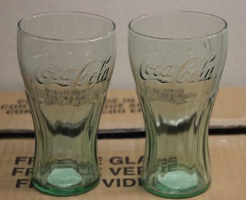 Set of 2 Coca Cola Green Glasses NEW 17.2 oz ea