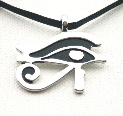Egyptian Eye of Ra Horus Thoth Udjat Pendant LEATHER-Necklace Choker ADJUSTABLE