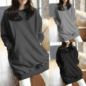 Women-Spring-Summer-Jumper-Sweater-Pullover-Oversized-Solid-Long-Shirt-Top-Dress